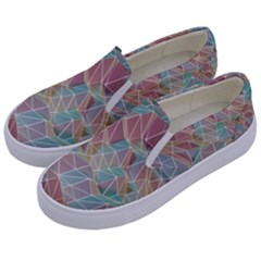 Triangle Mesh Render Background Kids  Canvas Slip Ons by AnjaniArt