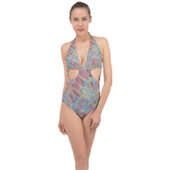 Triangle Mesh Render Background Halter Front Plunge Swimsuit
