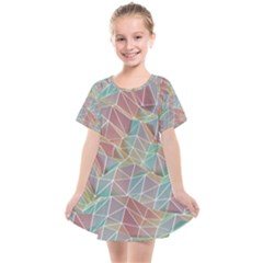 Triangle Mesh Render Background Kids  Smock Dress by AnjaniArt