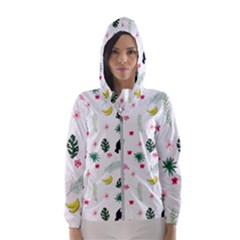 Tropical Vector Elements Peacock Hooded Windbreaker (women)