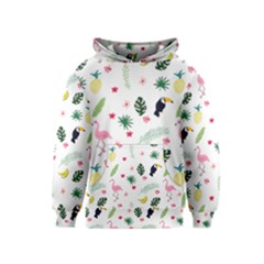 Tropical Vector Elements Peacock Kids  Pullover Hoodie