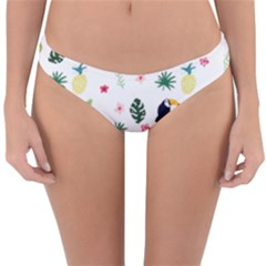 Tropical Vector Elements Peacock Reversible Hipster Bikini Bottoms by Alisyart