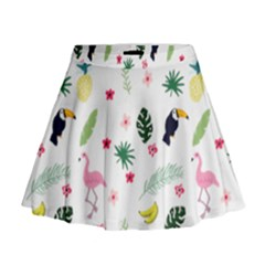 Tropical Vector Elements Peacock Mini Flare Skirt