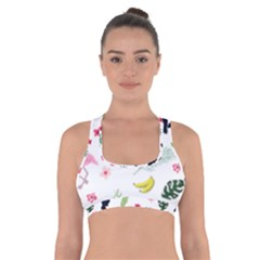 Tropical Vector Elements Peacock Cross Back Sports Bra