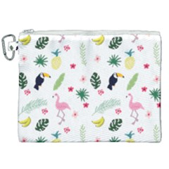 Tropical Vector Elements Peacock Canvas Cosmetic Bag (xxl)