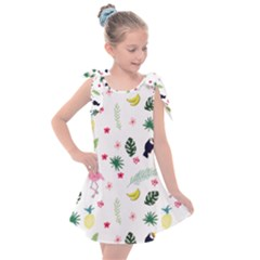 Tropical Vector Elements Peacock Kids  Tie Up Tunic Dress