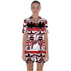 Visual Arts Skull Satin Short Sleeve Pyjamas Set