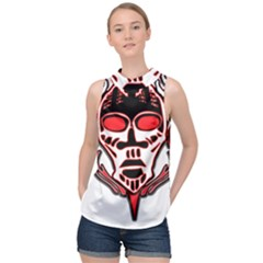 Visual Arts Skull High Neck Satin Top