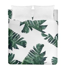 Watercolor Dark Green Banana Leaf Duvet Cover Double Side (full/ Double Size) by Alisyart