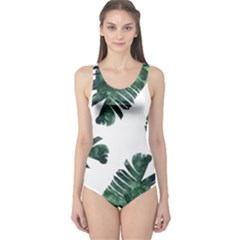 Watercolor Dark Green Banana Leaf One Piece Swimsuit