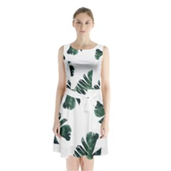 Watercolor Dark Green Banana Leaf Sleeveless Waist Tie Chiffon Dress