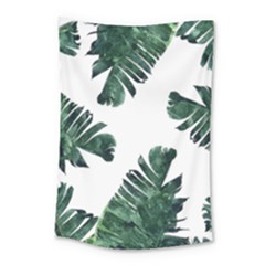Watercolor Dark Green Banana Leaf Small Tapestry
