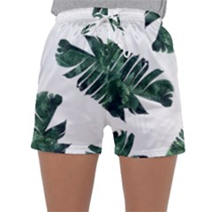 Watercolor Dark Green Banana Leaf Sleepwear Shorts