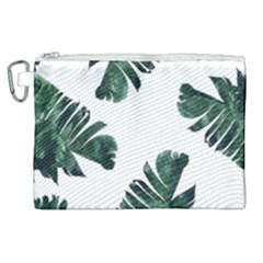 Watercolor Dark Green Banana Leaf Canvas Cosmetic Bag (xl)