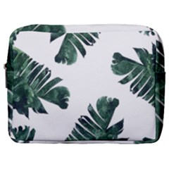 Watercolor Dark Green Banana Leaf Make Up Pouch (large)