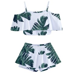 Watercolor Dark Green Banana Leaf Kids  Off Shoulder Skirt Bikini