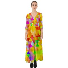 Watercolor Paint Blend Button Up Boho Maxi Dress