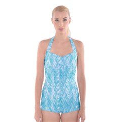 Zigzag Backdrop Pattern Boyleg Halter Swimsuit