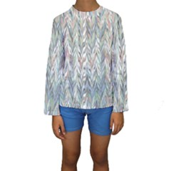 Zigzag Backdrop Pattern Grey Kids  Long Sleeve Swimwear