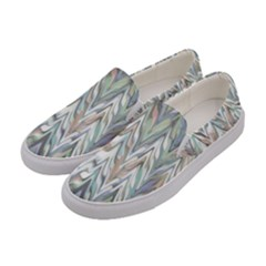 Zigzag Backdrop Pattern Grey Women s Canvas Slip Ons by Alisyart
