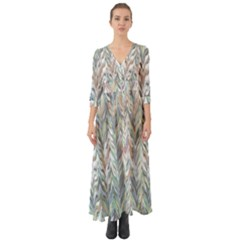 Zigzag Backdrop Pattern Grey Button Up Boho Maxi Dress