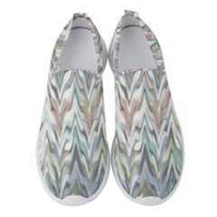 Zigzag Backdrop Pattern Grey Women s Slip On Sneakers