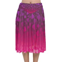 Purple Pink Hearts  Velvet Flared Midi Skirt by LoolyElzayat