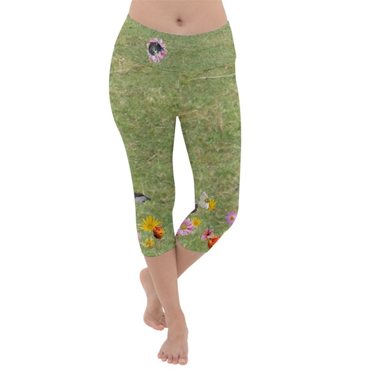 Meadow with Flowers and critters Lightweight Velour Capri Yoga Leggings