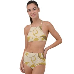 Floral Decoration Flowers Brown High Waist Tankini Set