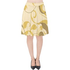 Floral Decoration Flowers Brown Velvet High Waist Skirt by Jojostore