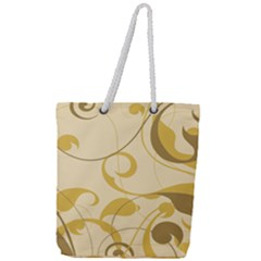 Floral Decoration Flowers Brown Full Print Rope Handle Tote (large)