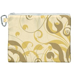 Floral Decoration Flowers Brown Canvas Cosmetic Bag (xxl)