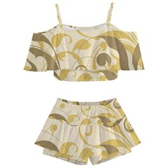 Floral Decoration Flowers Brown Kids  Off Shoulder Skirt Bikini