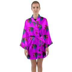 Opposite Way Fish Swimming Long Sleeve Kimono Robe