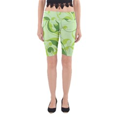 Floral Decoration Flowers Green Yoga Cropped Leggings