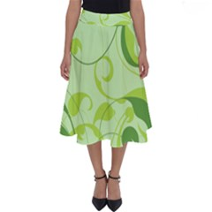 Floral Decoration Flowers Green Perfect Length Midi Skirt
