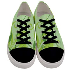 Floral Decoration Flowers Green Men s Low Top Canvas Sneakers