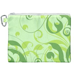 Floral Decoration Flowers Green Canvas Cosmetic Bag (xxl)