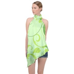 Floral Decoration Flowers Green Halter Asymmetric Satin Top by Jojostore