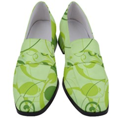 Floral Decoration Flowers Green Women s Chunky Heel Loafers