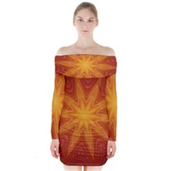 Fractal Wallpaper Colorful Abstract Long Sleeve Off Shoulder Dress