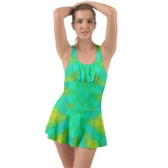 Kaleidoscope Background Ruffle Top Dress Swimsuit