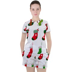 Christmas Stocking Candle Women s Tee And Shorts Set by Mariart