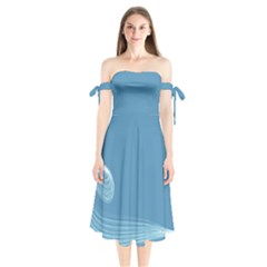 Airy Shoulder Tie Bardot Midi Dress by WensdaiAddamns