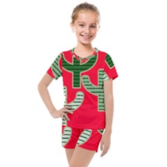 Cactus Western Background Kids  Mesh Tee And Shorts Set