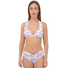 Anchors Nautical Backdrop Sea Double Strap Halter Bikini Set by AnjaniArt