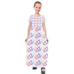 Anchors Nautical Backdrop Sea Kids  Short Sleeve Maxi Dress by AnjaniArt