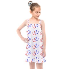 Anchors Nautical Backdrop Sea Kids  Overall Dress