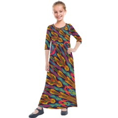 Background Abstract Texture Kids  Quarter Sleeve Maxi Dress