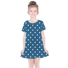 Polka Dot - Turquoise  Kids  Simple Cotton Dress by WensdaiAmbrose